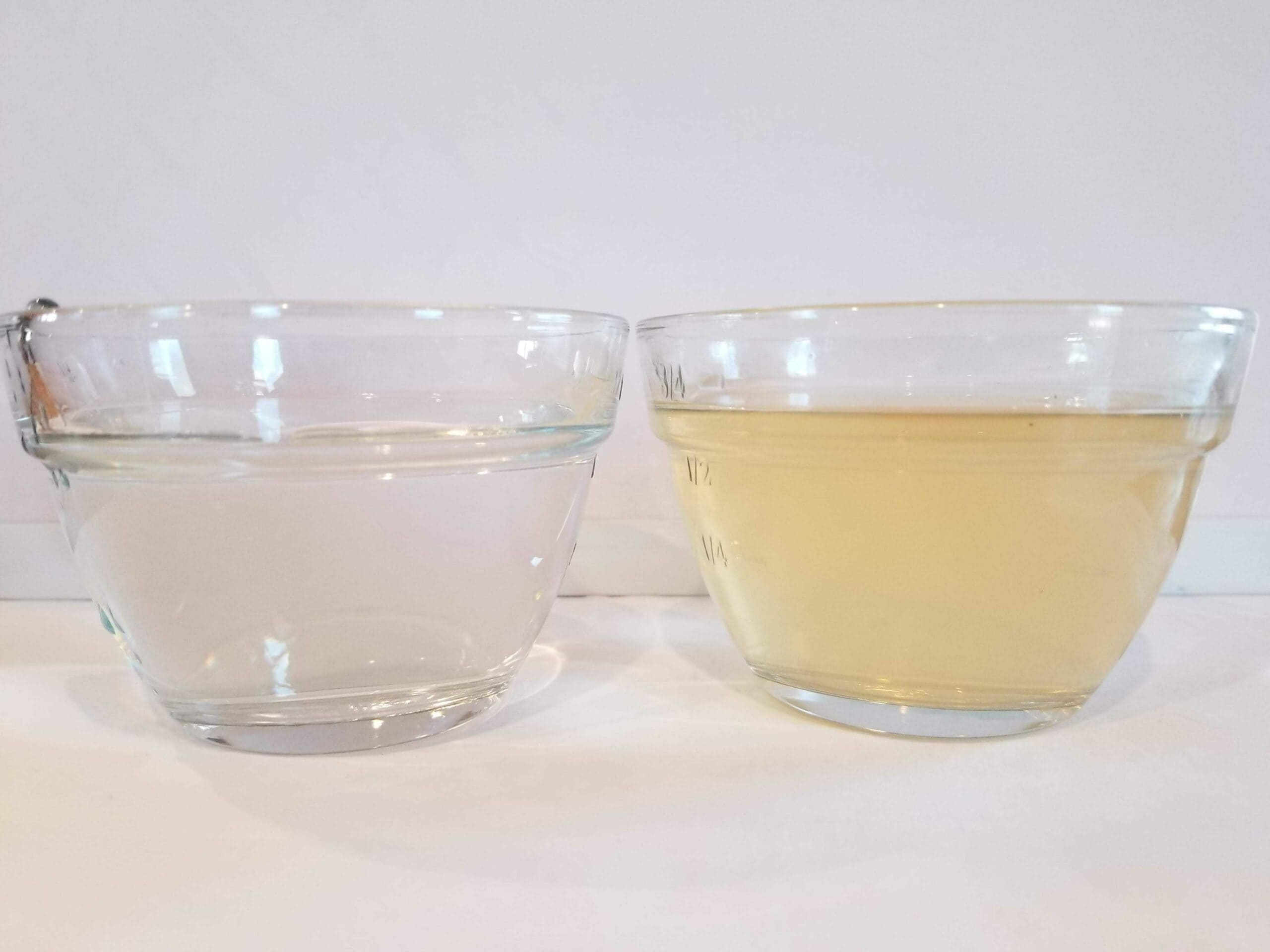 before and after water sample